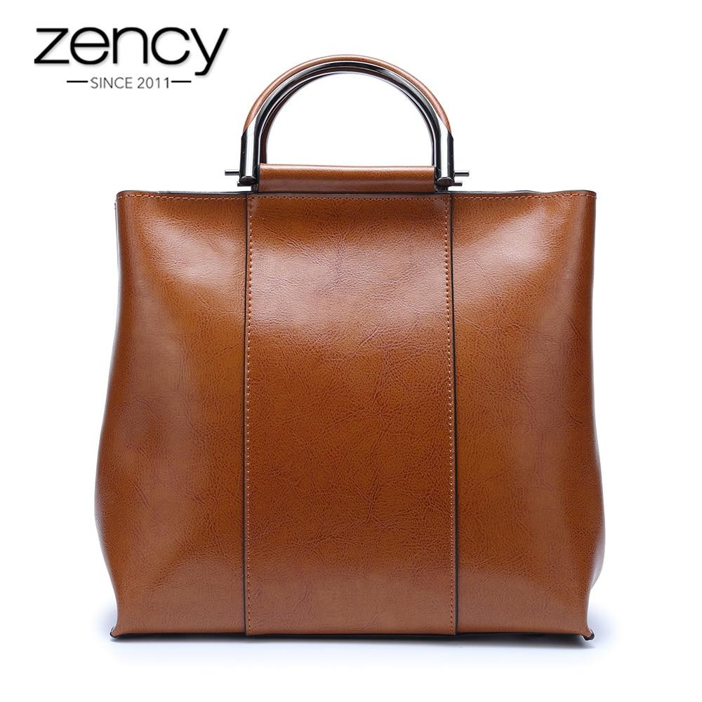 все цены на Zency 6 Colors Famous Brand Designer Women Handbag Casual Tote Bag High Quality Vintage Ladies Shoulder Messenger Purse Brown онлайн