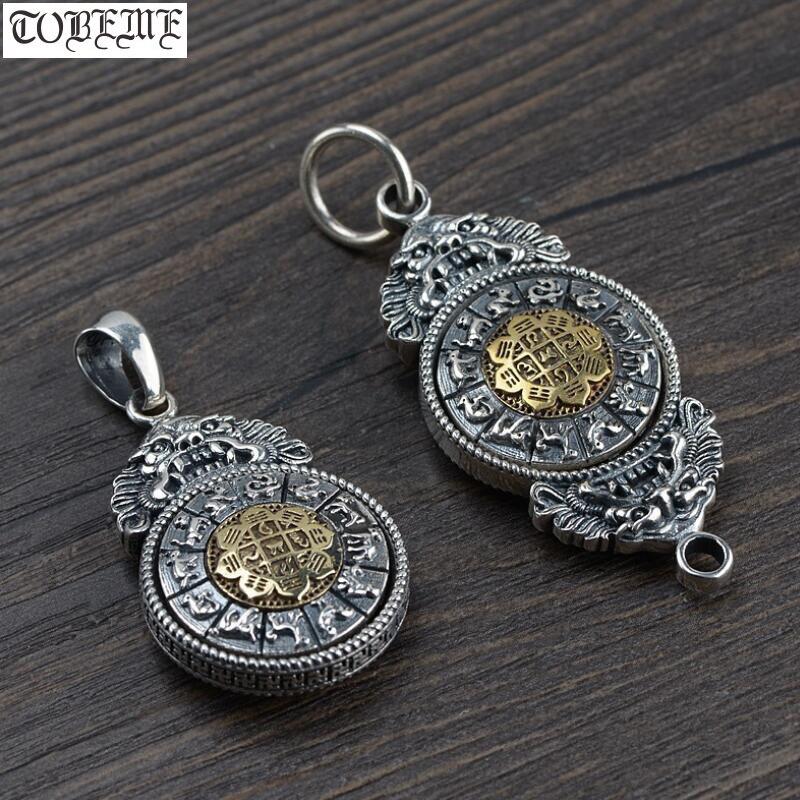 Handmade 925 silver Tibetan Nine Direction Eight Symbols Amulet Sterling Silver Buddhist Amulet Pendant Tibetan Amulet