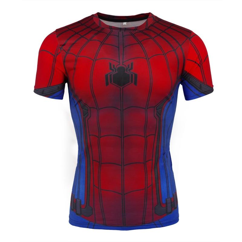 Gyms Casual Men's T-shirt Super Hero Spiderman Compress Shirt Fitness T-shirt 2018 Summer workout Slim Men's Wear 3D T-shirt