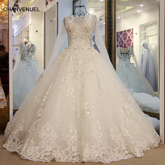 Ls56578 Sparkly Princess Wedding Dress Lace Up Back Ball Gown Long Sleeves Sequins Gowns