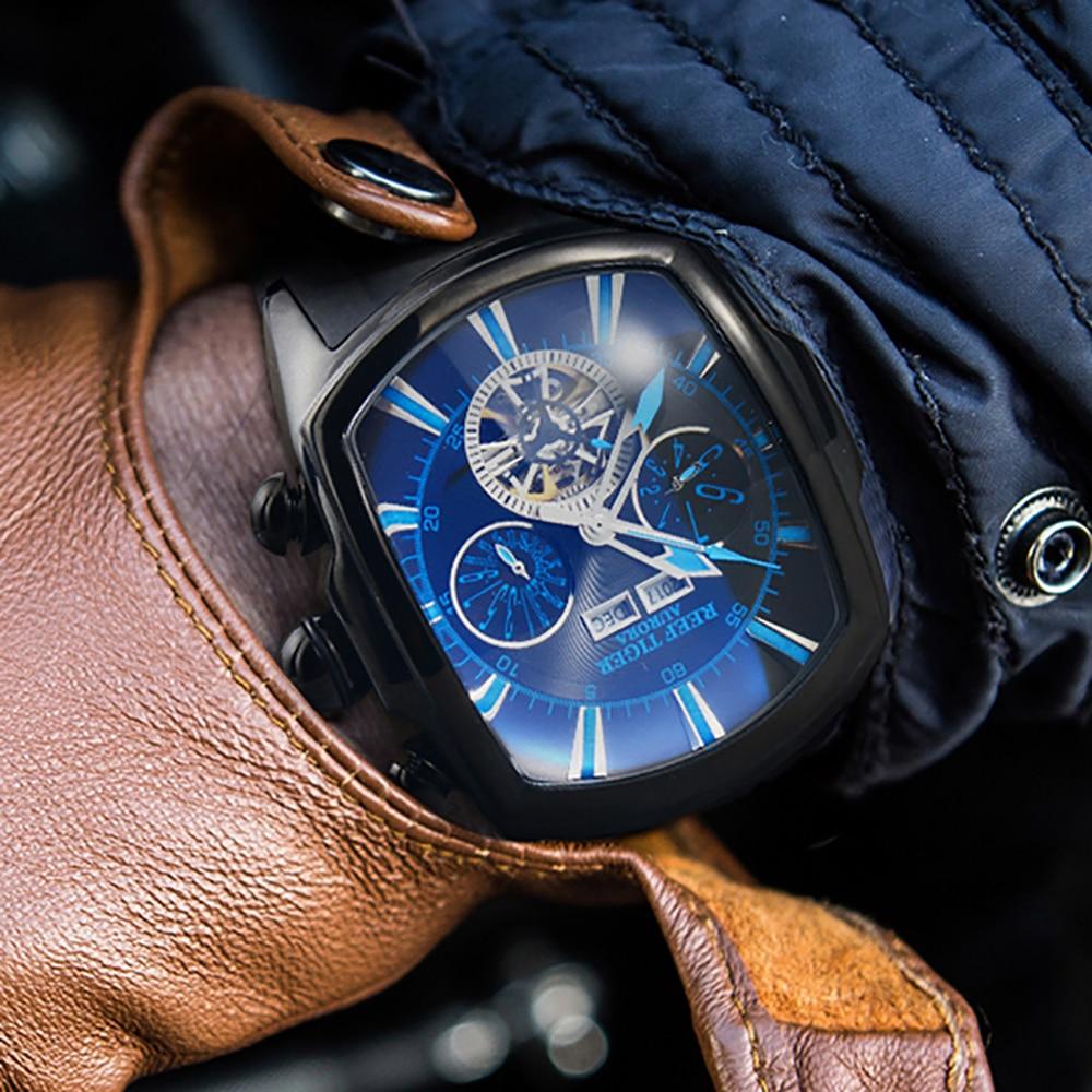 Arrecife de Tigre/RT superior de la marca de lujo de gran reloj para hombres azul Dial mecánica Tourbillon relojes deportivos Relogio Masculino RGA3069-in Relojes deportivos from Relojes de pulsera    3
