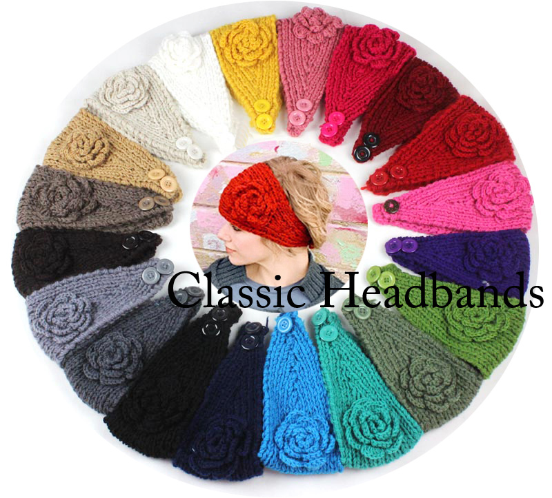 Women Winter knitted headband flower crochet Handmade hairband lady Mixed quantity color - Sweet Love store