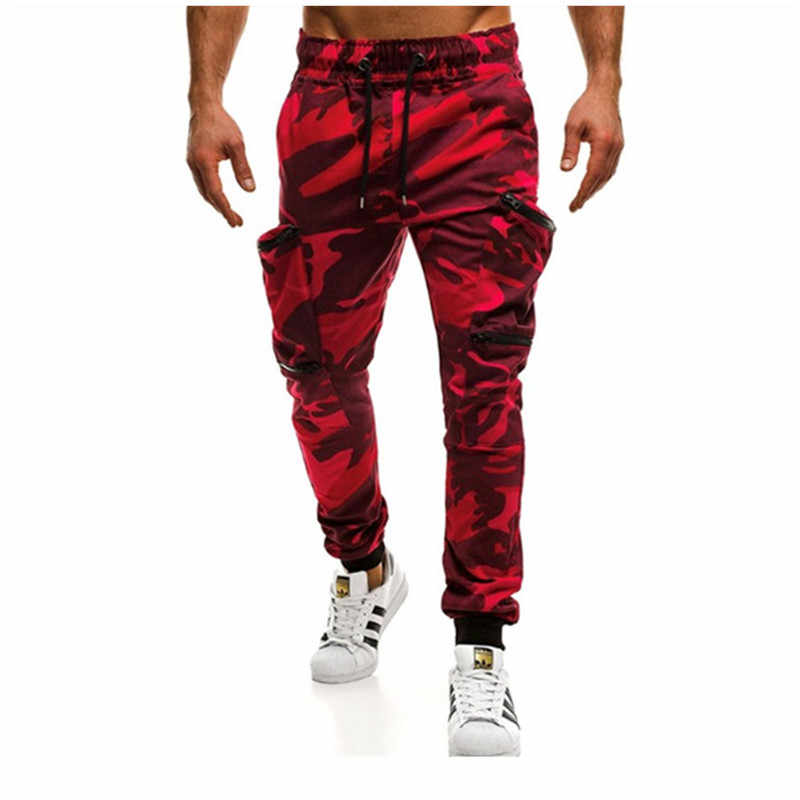Men's camouflage pants multi-pocket zipper jogging casual hip-hop pants military camouflage pants overalls men's pants