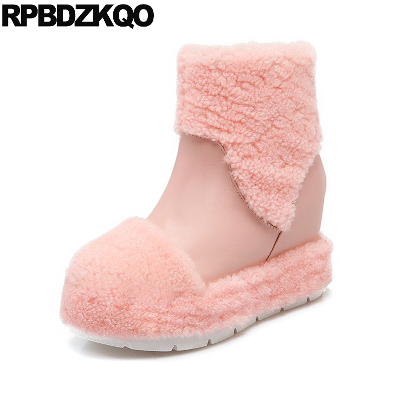 Flat Shoes Booties Winter Snow Boots Women Ankle Pink Ladies Fur Warm Slip On Round Toe Chinese Fashion Female New 2017 Short j ghee naruto shippuden q uchiha sasuke movable 707 nendoroid doll pvc action figure collectible model toy brinquedos