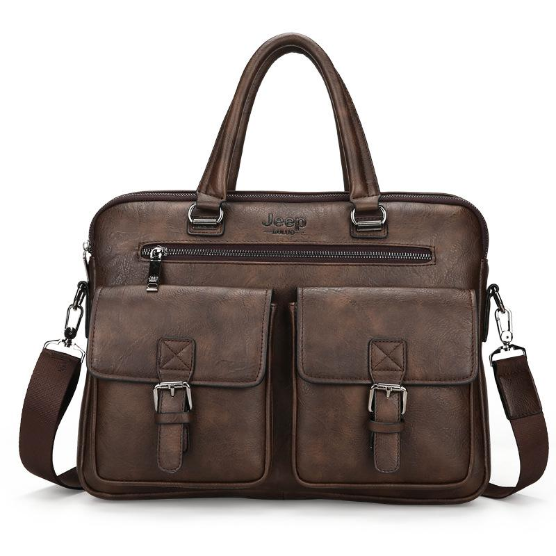 New Luxury Leather Business Men's Briefcase Two Silt Pocket Soft Handle 14 Inches Briefcases Bags Male Casual Tote Computer Bag
