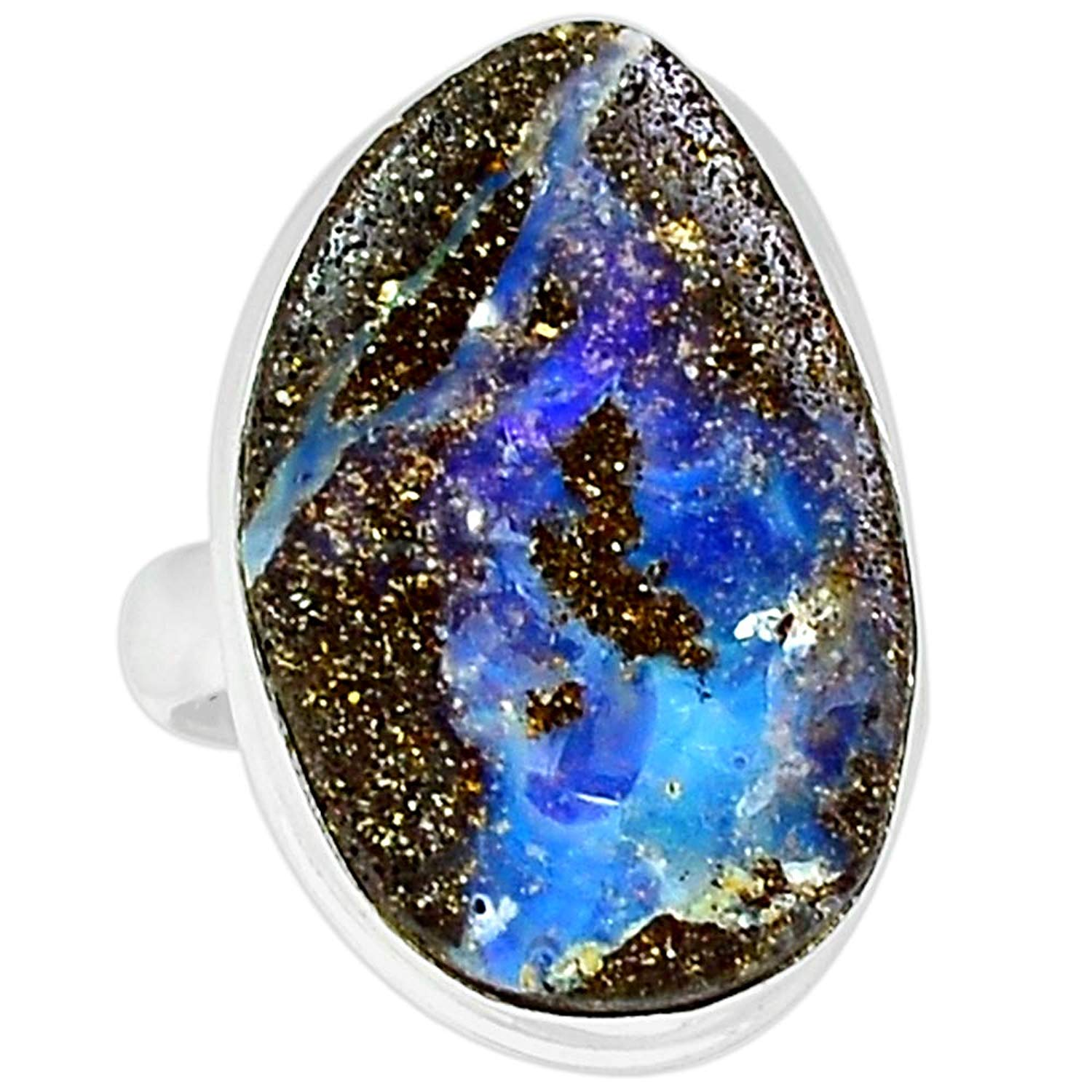 цена на Genuine BOULDER OPAL Ring 925 Sterling Silver Jewelry,USA Size :7.5, MHBAR3685