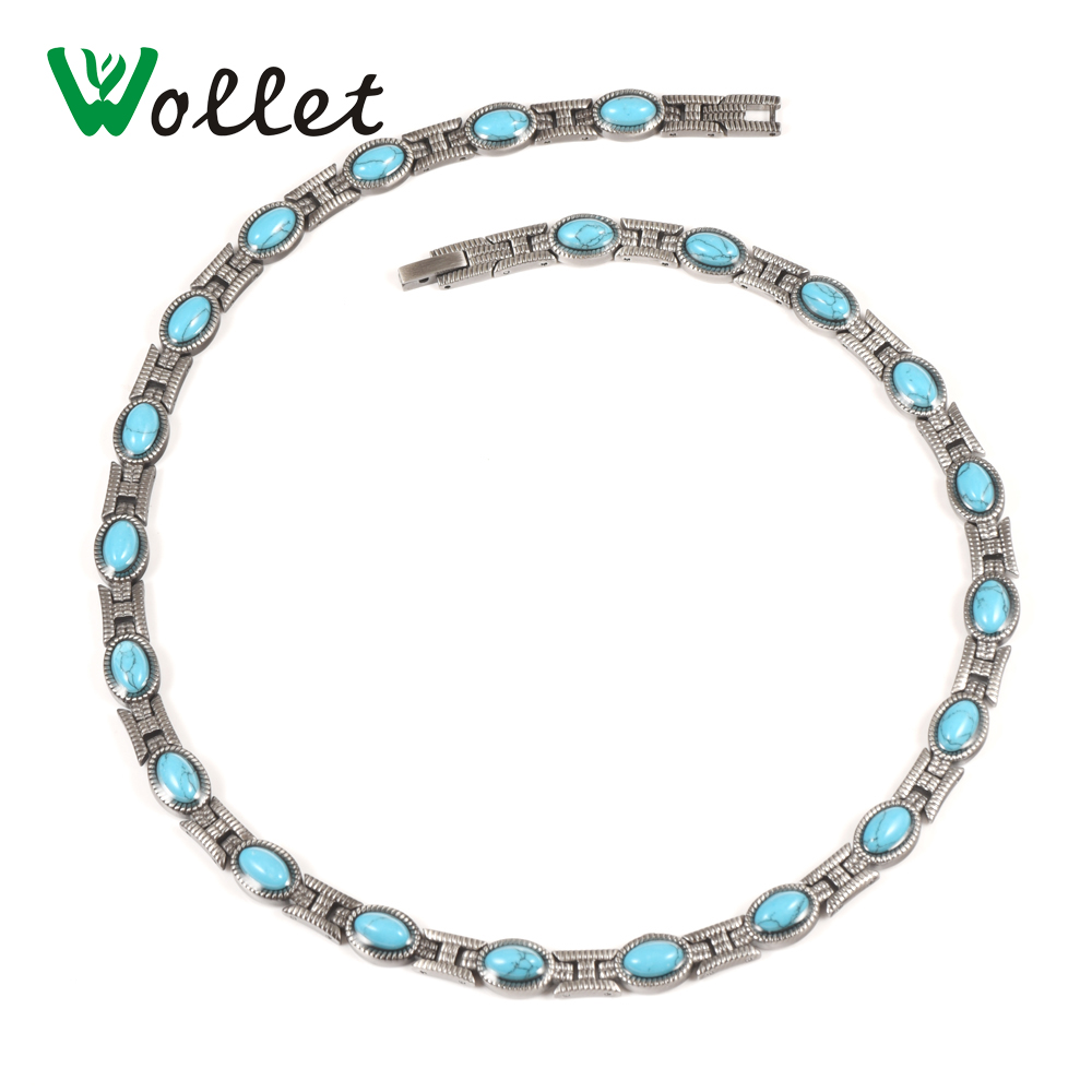 Wollet Jewelry Fashion Energy Infrared Anion Germanium Tourmaline Bio Magnetic Stainless Steel Women Necklace for Female