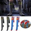 Hot unisex super hero superman batman joelho alta com cape futebol meias cosplay