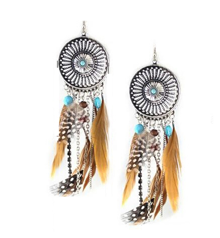 Tassel Earrings Vintage Fringed Feathers Earrings Long Earring For Women Jewelry India Bohemian Earing Dangle Drop Earrings