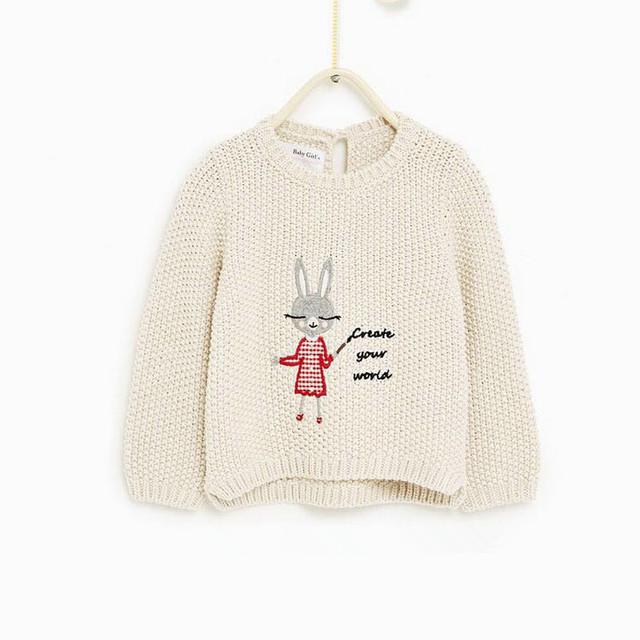 Amarillento Bebé Pequeño Conejo Suéter Del O-cuello Del Suéter de los Niños de Manga Larga chaqueta de Punto
