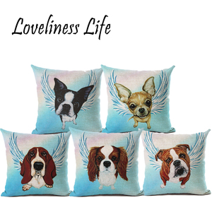 Schnauzer Husky Cushion Covers 45*45cm Dog Fundas Cojines Cotton Linen Throw Pillow Cases For Sofa Car Bedding Set Coussins