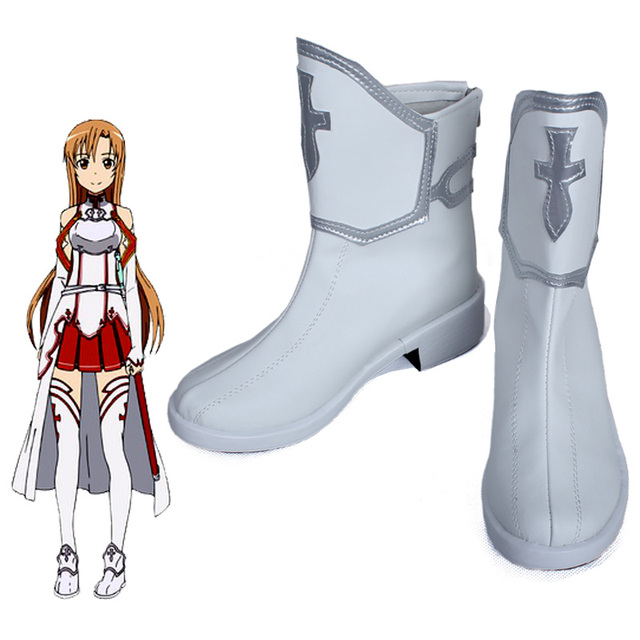Anime Sword Art Online Asuna Yuuki Cosplay Shoes Custom Hand Made Any Size Free Shipping