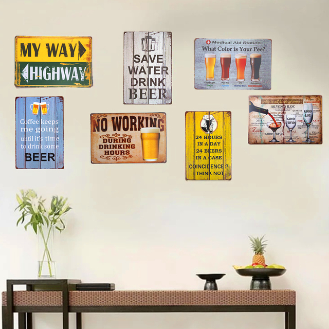 Vintage Metal Tin Signs Beer Poster Wifi Wall Decoration In wine Bar ...