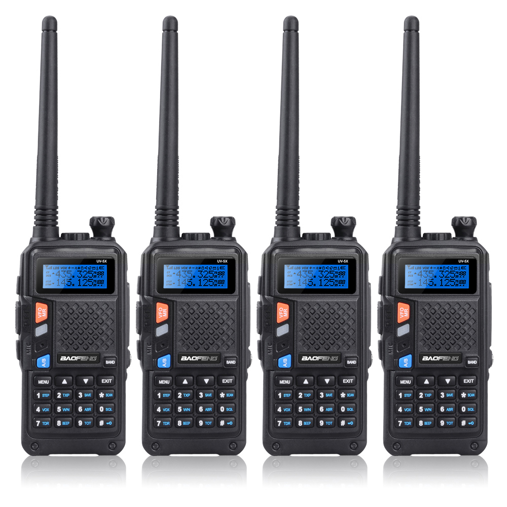 4 STKS BAOFENG UV-5X UHF + VHF Dual Band / Dual Horloge Twee-weg Radio FM Walkie Talkie + 4x Oortje