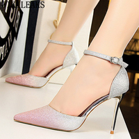 glitter heels Mary Jane shoes bigtree shoes Fetish high heels pumps women shoes pointed toe high heels zapatos mujer tacon buty