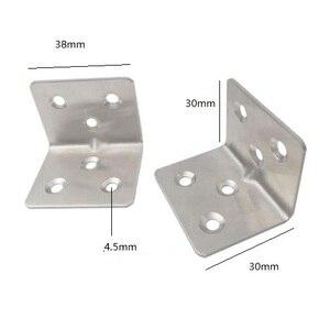 Image 2 - 20 個 38 × 30 × 1.5 ミリメートルステンレス鋼アングルコード 7 ワード固定ブラケット家具アクセサリーキャビネット右アングルコネクタ
