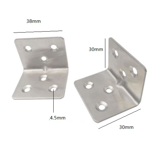20pcs 38 x 30 x 1.5 mm Stainless Steel Angle Code Seven Words Fixed Bracket Furniture Accessories Cabinet Right Angle Connector 10pcs 57mm x 16mm straight bracket 201 stainless steel 1 8mm thickness mending repair plate connector flat bracket