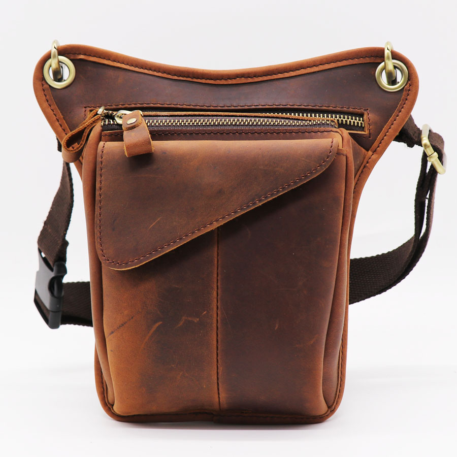 Bright Vintage Genuine Leather Belt Bag Mens Waist Bag Leg Pouch Pack Mobile Phone Camera Organize Multi-function Casual Bags Fine Jewelry