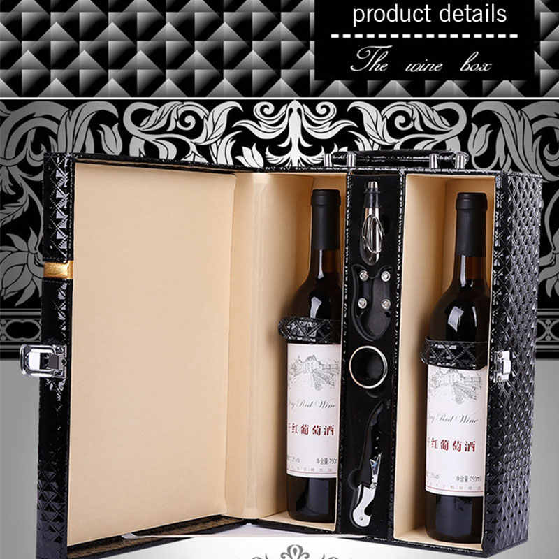 High Grade Black Double Wine Box Leather Diamond Wine Gift Box Classic Wine Bags Wine Carrier Packing Boxes With Leather Tote