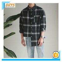 DZYS ZF Spring Retro Plaid Hem Long Sleeve Tip Collar Shirt Youth Shirt