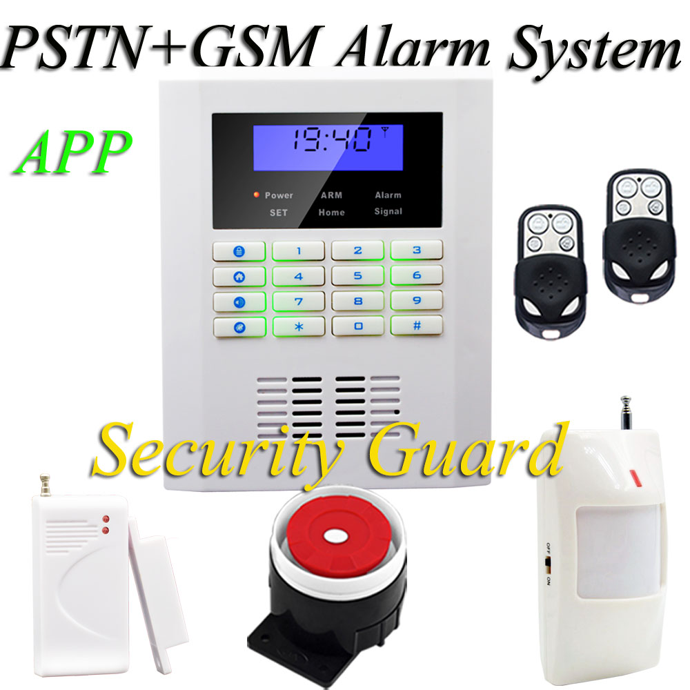 Free shipping Hot sales Wireless home security alarm system for Frequency is 900/1800/1900 White PSTN& GSM alarm system 433MHz