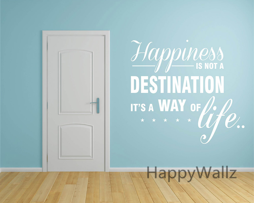 Hiness Is A Way Of Life Motivational Quote Wall Sticker Diy Decorative Inspirational Office Decal Q132 In Stickers From Home