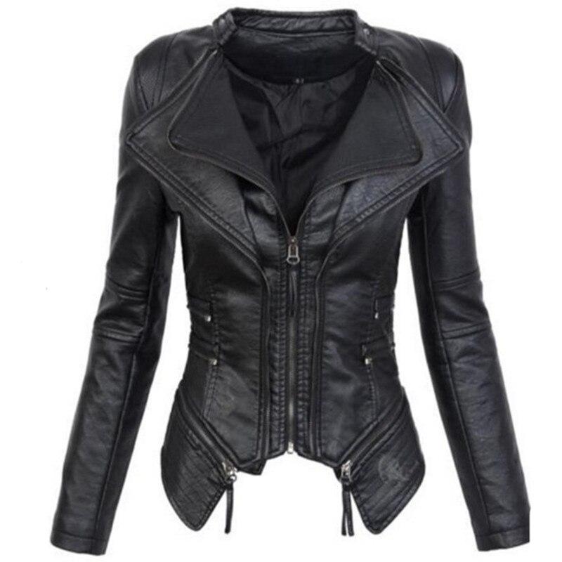 Gothique faux cuir PU Veste Femmes Hiver Automne De Mode Moto Veste Noir faux  cuir manteaux eef6ea9cab7
