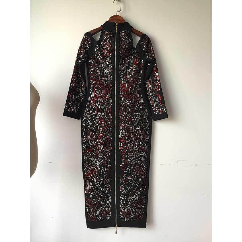 Alta qualidade mais recente moda 2020 vestido de designer barroco das mulheres manga longa ombro oco para fora diamantes coloridos vestido de miçangas