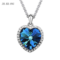 ZH KH ONG Luxury Crystal Zircon Necklace Blue Ocean Hearts Pendant Necklace For Women Classic Commemorate