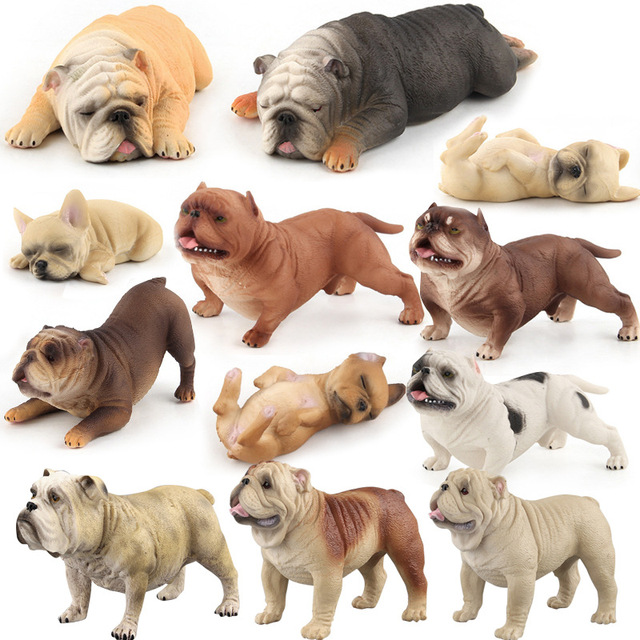 Nuevo de simulación de plástico animales Shar Pei perro Bulldog figura de Acción de Educación Biología Accesorios decoración niños adultos juguete Biologia