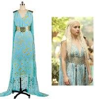 ゲームの魂daenerys targaryen青いドレスcospalyの衣