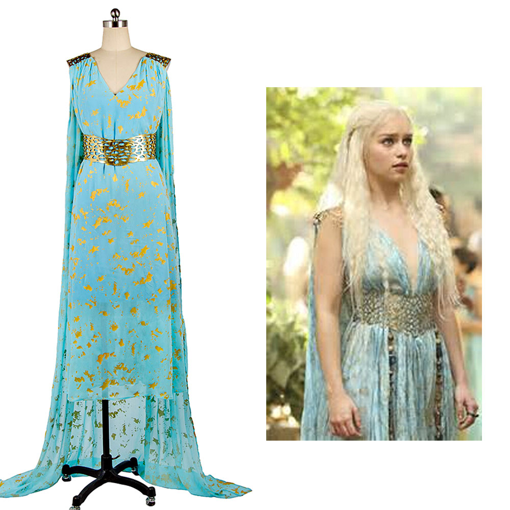 Got Game of Thrones Daenerys Targaryen Blue Dress Cospaly Costume For Women Full Set