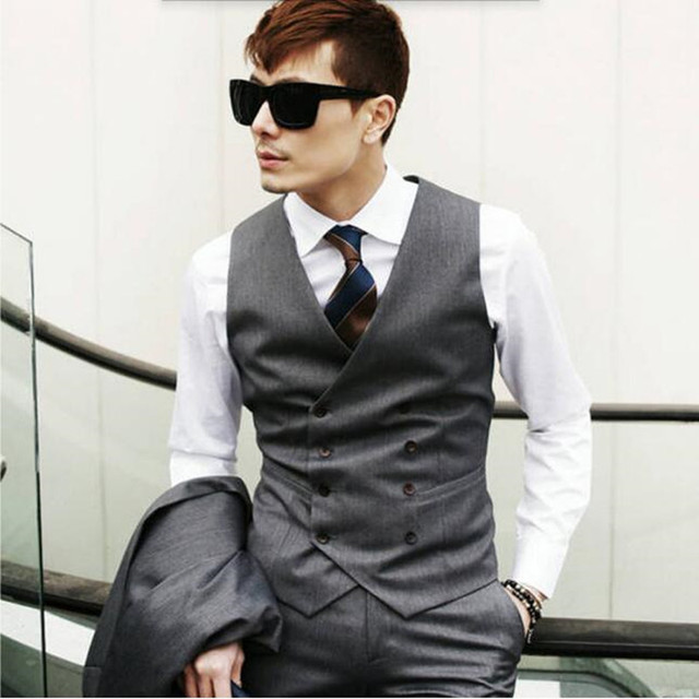 Para hombre chaleco de traje de moda casual de estilo británico guapo traje  masculino chaleco por b40b420d6cb7