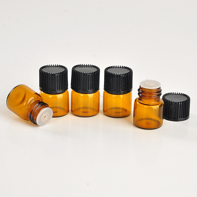 300 X 1ml Black Stripe Cap Essential Oil Bottles Toiletry Refillable Sample Amber Vials with Hole