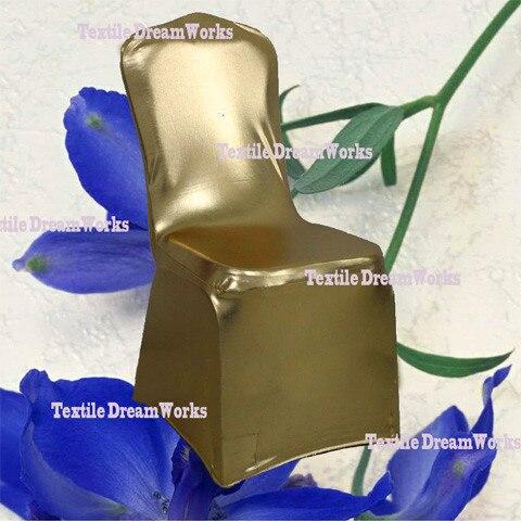 50 шт. блестящий серебристый металлик двусторонней спандекс Чехлы для стульев/лайкра Чехлы для стульев для Свадебные украшения - Цвет: Gold