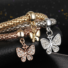 Butterfly Shape Pendant 3Pcs/set Bracelets & Bangles Gold-color AAA Cubic Zirconia Fashion Jewellery Girlfriend Gift Free Ship