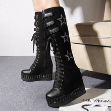 2017 autumn new boots High-heeled knee-high boots Plus velvet slope with boots women's shoes