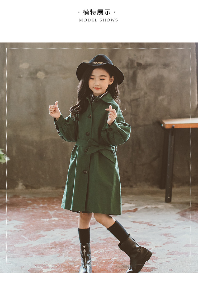 2018 New Arrvial Girls Trench Coat Green Children's Windbreaker Jackets Girls Outerwear Children Overcoat цены онлайн
