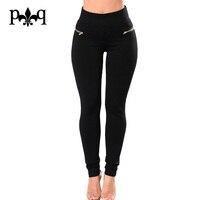 Hilove Summer Women Pants High Waist OL Office Work Pant Black White Zipper Pencil Pants Business