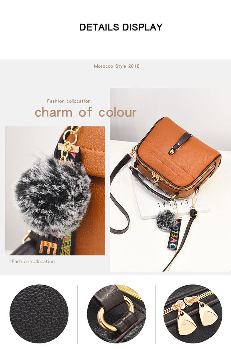 Fashion Women Handbag PU Leather Women Messenger Bags With Ball Toy Female Shoulder Bags Ladies Party Handbags 2019 2