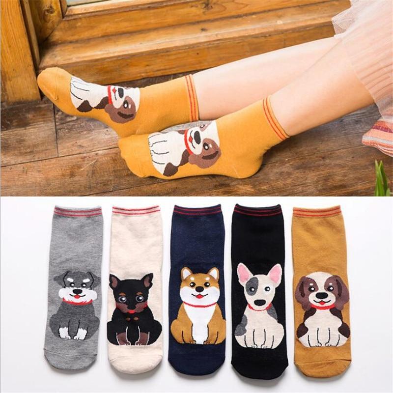 Fashion Cartoon Cotton   Socks   Women Korean Kawaii Dog Print Women Cute   Socks   Casual Meias Funny Harajuku   Socks   For Women Girl