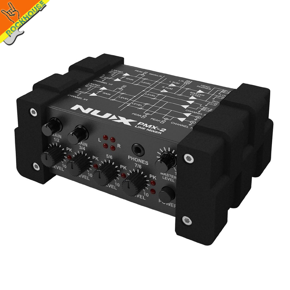 NUX PMX I/O Line Mixer mini mixer console USB sound console 6/8 inputs 2 outputs volume indicator level control free shipping nux pmx 2 new multi channel line mixer overload indicator 8 in 2 out mixer fit several audio devices for electric guitar bass