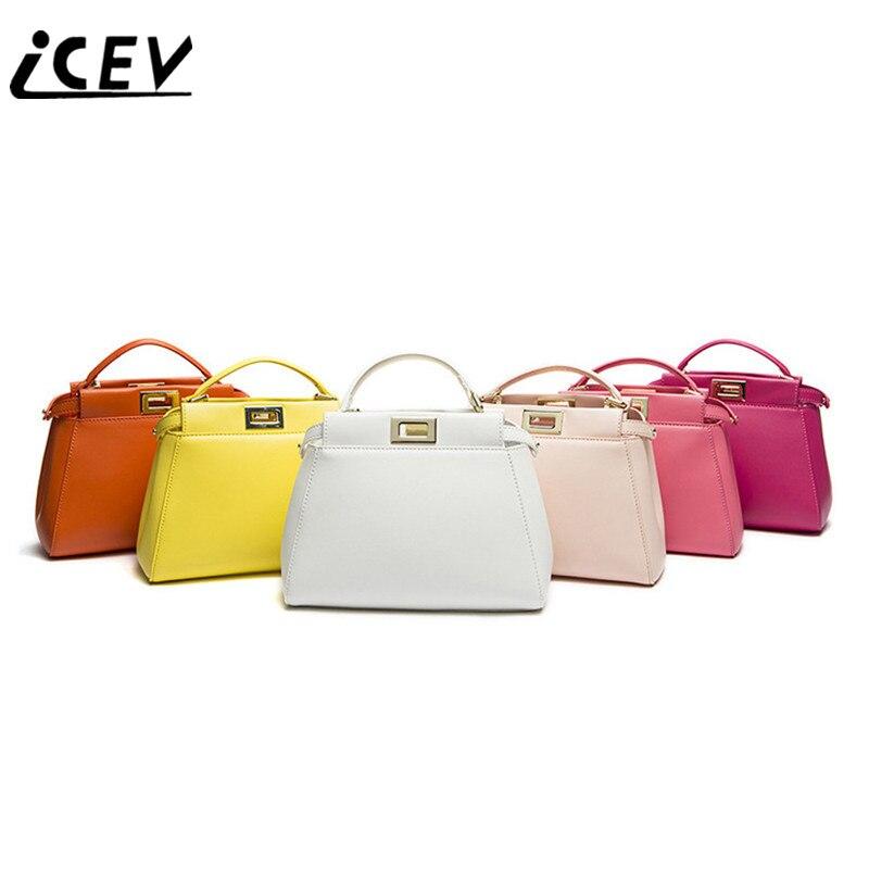 ФОТО ICEV Classic Fashion Designer Handbags High Quality Genuine Leather Cow Bags Handbags Women Famous Brand Women Leather Handbags