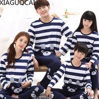 Family Matching Outfits Father Mother Children 100 Cotton Pajamas Sets Pullover Trousers 2pcs Lovely Sleep Wear