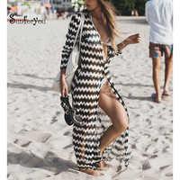 NUEVA cubierta de Playa de encaje Para Playa de Sarong abrigo Pareos Para Playa 2019 traje de baño cubrir mujeres bata Plage Playa Kaftan vestido de playa
