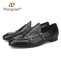 Piergitar/2018 новый стиль черного цвета Мужская обувь из натуральной кожи с горошек дизайн свадебные и вечерние мужские лоферы