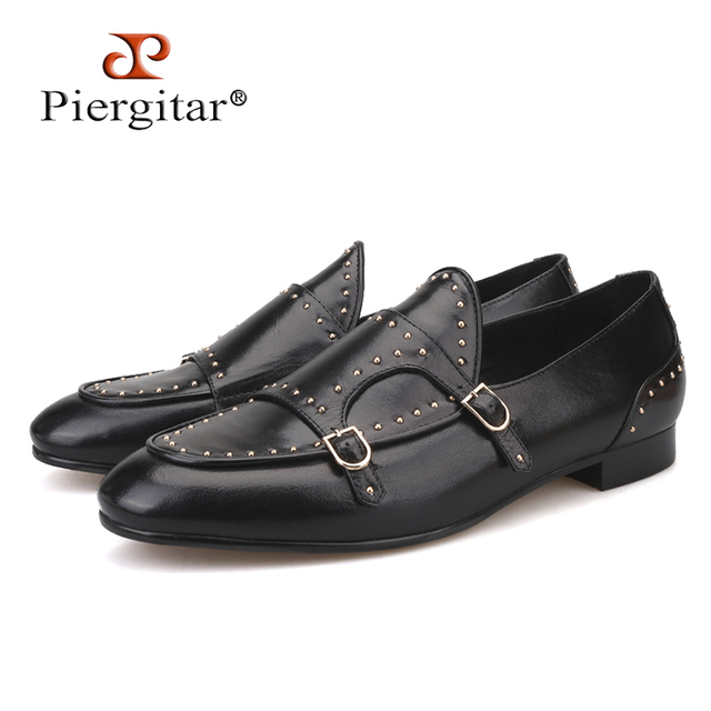 Piergitar 2018 new style Black colors Genuine Leather men shoes with Polka Dot designs Wedding and Banquet men's loafers
