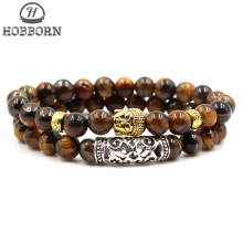 HOBBORN Trendy Men Bracelet Set 8mm Natural Tiger Eye Stone Handmade Strand Buddha Head Healing Reiki Prayer Balance Pulsera
