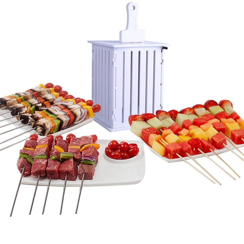 Portable BBQ 16 Hole Meat Skewer Kabob Maker Box Barbecue Tools BBQ Kabob Maker Machine Beef Meat Maker DIY 32 Bamboo Skewers