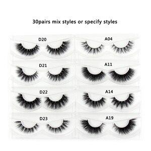 Image 3 - 30 Pairs/Pack Eyelashes 3D Mink Lashes With Tray No Box Hand Made Full Strip Lashes Mink False Eyelashes Makeup eyelashes Fluffy